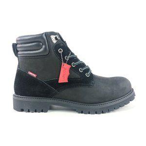 Levis Dunbar Mens 8.5 Black Mono Chrome Leather Ankle Work Boots 516758-A48